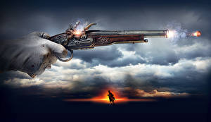 Desktop wallpapers Pistol The Ballad of Uhlans Firing Clouds Movies