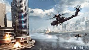 Bilder Battlefield Battlefield 4 Hubschrauber Wolkenkratzer Flug computerspiel 3D-Grafik