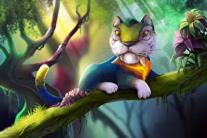 Wallpapers Magical animals Tigers The Croods Branches Fantasy Cartoons