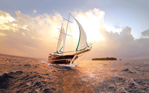 Picture Yacht Sailing Sea Clouds Nature