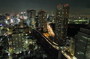 壁纸、、日本、住宅、超高層建築物、東京都、夜、上から、メガロポリス、都市
