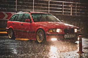 Pictures Rain BMW Red Drops e36 automobile