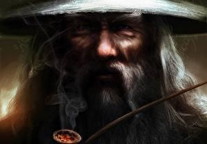 Bakgrunnsbilder Ringenes herre Ansikt Røyk Gandalf Fantasy Film
