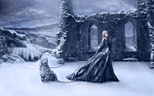 Hintergrundbilder Gotische Winter Leopard Ruinen Schnee Schneeflocken Fantasy Mädchens