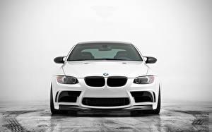 Bureaubladachtergronden BMW Wit Vooraanzicht m3 auto's