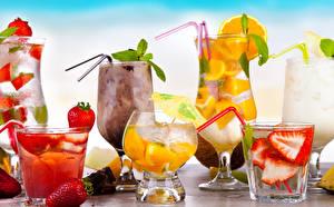 Hintergrundbilder Getränke Obst Erdbeeren Cocktail Weinglas Eis Lebensmittel