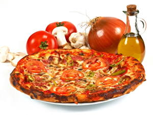 Fotos Fast food Pizza Zwiebel Tomate Lebensmittel