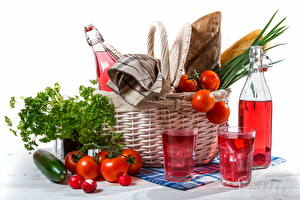 Image Still-life Vegetables Tomatoes Bottle Wicker basket Highball glass Food