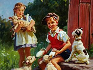 Fotos Gezeichnet Malerei Junge Kleine Mädchen Sitzen kind
