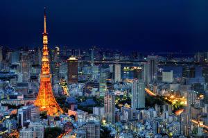 壁纸、、住宅、日本、東京都、夜、上から、エッフェル塔、メガロポリス、都市