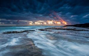Pictures Coast Sky Sea USA Ocean Clouds Horizon Hawaii Nature
