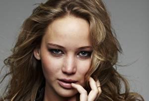 Fotos Jennifer Lawrence Gesicht Haar Starren Dunkelbraun Prominente Mädchens