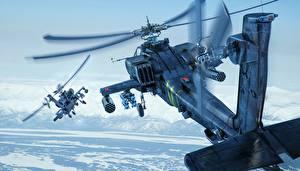 Hintergrundbilder Hubschrauber AH-64 Apache Flug AH-64D Luftfahrt 3D-Grafik