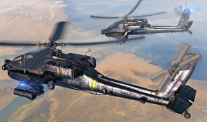 Bilder Hubschrauber AH-64 Apache Flug 3D-Grafik