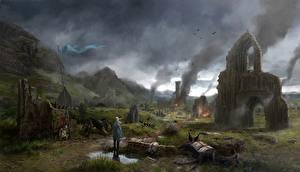 Desktop hintergrundbilder Mittelalter Ruinen Dorf Fantasy