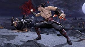 Fotos Mortal Kombat Mann Blut Schlägerei Schlagen computerspiel 3D-Grafik