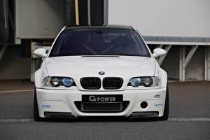 Bureaubladachtergronden BMW Witte Vooraanzicht m3 e46 Auto