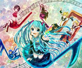 Fotos Vocaloid Hatsune Miku Krawatte Schulmädchen Anime Mädchens