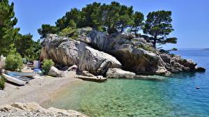 Images Coast Croatia Sea Stones  Nature