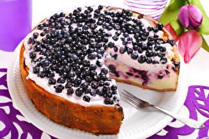 Fondos de escritorio Dulces Tarta Ribes Pastelón Tarta de queso Tenedor