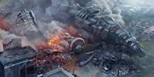 Hintergrundbilder Katastrophen Wandelflugzeug Rauch Fantasy