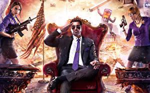 Desktop hintergrundbilder Saints Row Mann Krieg Sessel Thron Anzug Sitzend Krawatte 4 Spiele