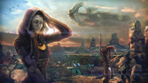 Fonds d'écran Mass Effect Navire Tali Zorah Extraterrestre Capuche vas Normandy Jeux Filles Сosmos