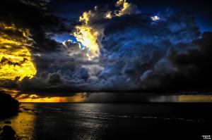 Pictures Sky Rain Sea Clouds Storm cloud Nature