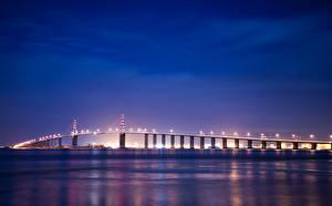 Bakgrunnsbilder Frankrike En bro Himmel Natt Gatebelysning Bretagne en by