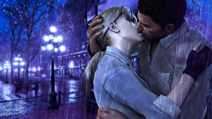 Photo Resident Evil Man Lovers Rain Kiss Street Street lights Two vdeo game 3D_Graphics Girls
