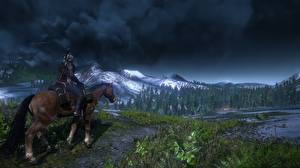 Wallpapers The Witcher The Witcher 3: Wild Hunt Horses Mountains Smoke Games 3D_Graphics Nature