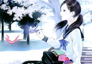 Fotos Schülerin Uniform Brünette Anime Mädchens