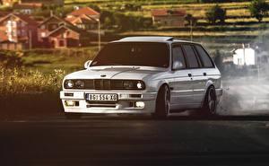 Bureaubladachtergronden BMW Witte Vooraanzicht E30 325 auto's