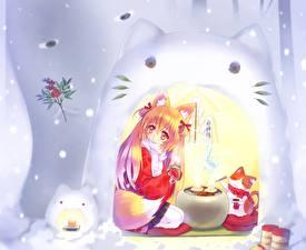 Tapety na pulpit Catgirl Koty Śnieg Dziewczyny