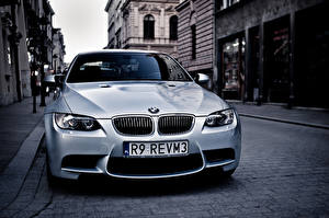 Images BMW White Front Street E92 m3 Cars