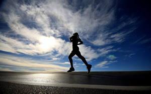 Wallpapers Sky Running Clouds Asphalt Silhouette sports Girls