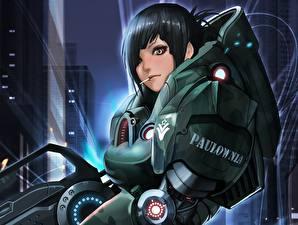 Bilder Krieger Rüstung Brünette Fantasy Mädchens Anime