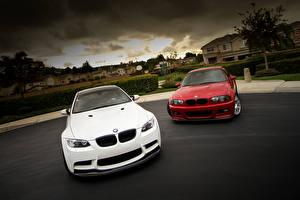 Bureaubladachtergronden BMW Witte Vooraanzicht m3 e46 e92 auto's