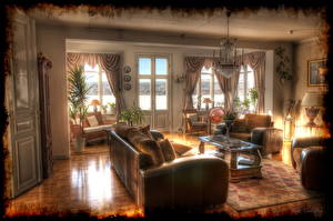 Wallpapers Interior Retro Couch Chandelier HDRI