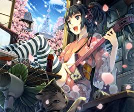 Bilder Gitarre Kopfhörer Brünette Kimono Nylonstrumpf Anime Mädchens