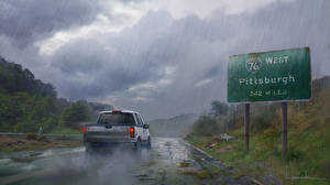 Images The Last of Us Rain Roads Clouds vdeo game Cars