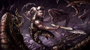 Images Vin Diesel Warrior Men Battles Monster Riddick film Celebrities Fantasy
