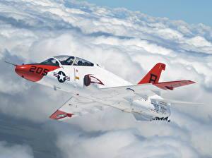 Bilder Flugzeuge Jagdflugzeug Boeing Flug Wolke Boeing BAE Systems T-45