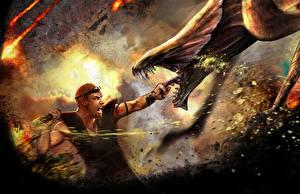 Bakgrundsbilder på skrivbordet Vin Diesel Strid Män Monster Riddick 2013 Filmer Kändisar