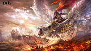 Picture Warriors Tigers Men Wings Spear Cloak Fantasy