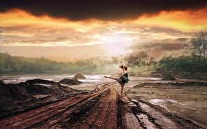 Images Roads Rain Mud Clouds Thundercloud Nature Girls