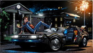 Images Back to the Future Painting Art Young man Night Cars Fantasy