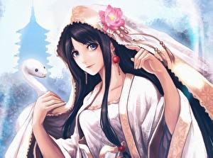 Bilder Schlangen Brünette Kimono Anime Mädchens