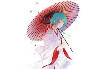 Fonds d'écran Vocaloid Parapluie Kimono Anime Filles