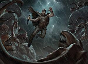 Bakgrundsbilder på skrivbordet Riddick 2013 Vin Diesel Män Krigare Monster Regn Hoppar film Kändisar Fantasy